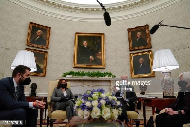 Brian Deese, director of the National Economic Council, from left, U.S. Vice President Kamala Harris, U.S. President Joe Biden, and Janet Yellen,...