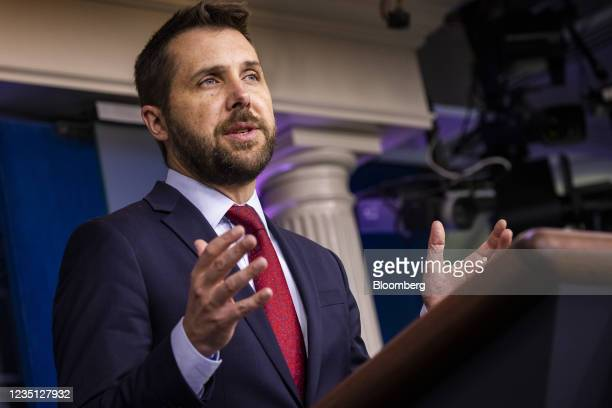 Brian Deese, director of the National Economic Council, speaks during a news conference in the James S. Brady Press Briefing Room at the White House...