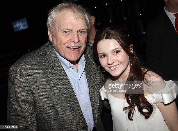"Brian Dennehy and Abigail Breslin pose at the after party for the Broadway opening of ""The Miracle Worker"" at Crimson on March 3, 2010 in New York..."