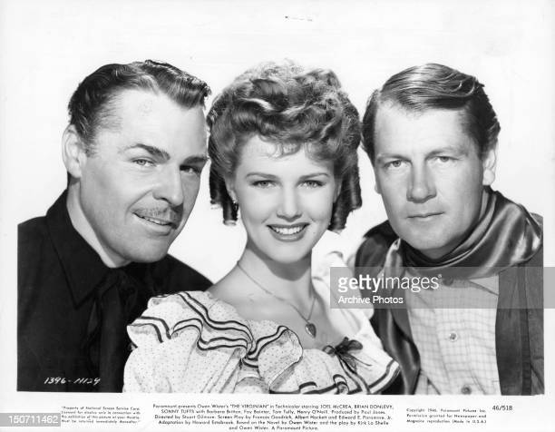 Brian Donlevy Barbara Britton and Joel McCrea publicity portrait for the film 'The Virginian' 1946