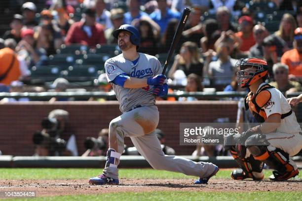 Brian Dozier of the Los Angeles Dodgers watches his tworun homerun against the San Francisco Giants during their MLB game at ATT Park on September 30...