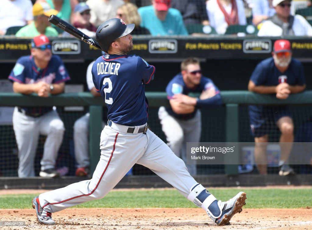 Brian Dozier #2 of the Minnesota Twins hits a home run in the third inning during the spring training game between the Pittsburgh Pirates and the Minnesota Twins at LECOM Field on March 19, 2018 in Bradenton, Florida.