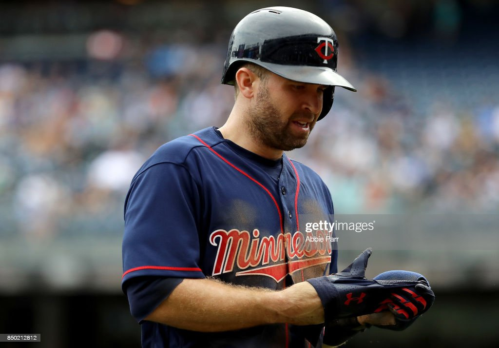 Brian Dozier #2 of the Minnesota Twins reacts after being caught stealing at second in the first inning against the New York Yankees on September 20, 2017 at Yankee Stadium in the Bronx borough of New York City.