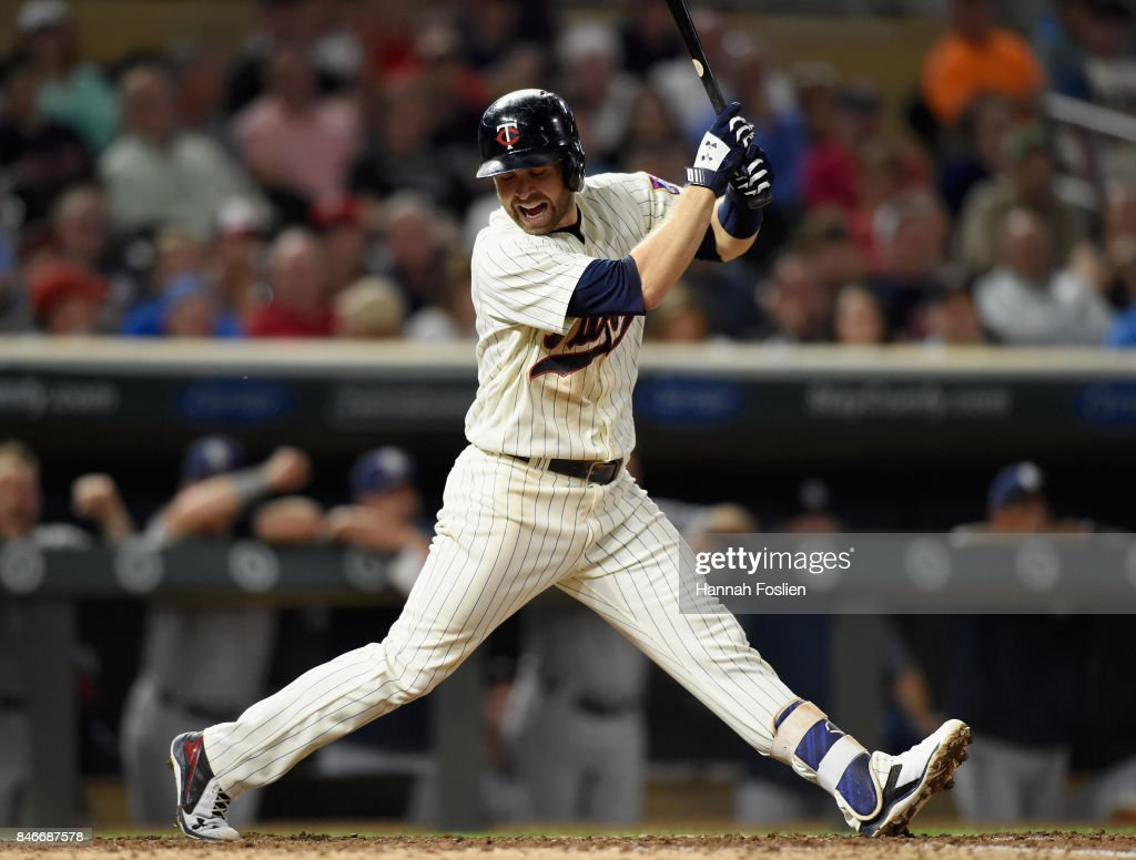 Brian Dozier #2 of the Minnesota Twins reacts to striking out against the San Diego Padres during the seventh inning of the game on September 13, 2017 at Target Field in Minneapolis, Minnesota. The Twins defeated the Padres 3-1 in ten innings.