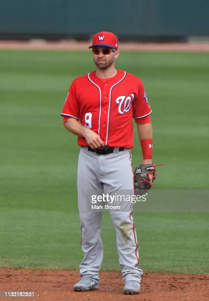 Brian Dozier of the Washington Nationals in action during the spring training game against the Miami Marlins at Roger Dean Stadium on March 1 2019 in...