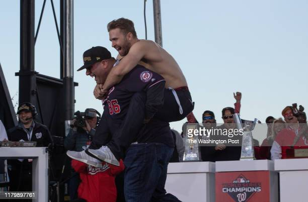 Brian Dozier takes off his shirt and dances during the finale to the World Series Championship parade November 2 2019