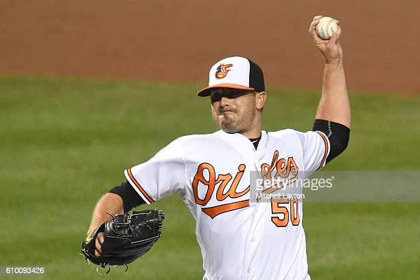 Brian Duensing of the Baltimore Orioles during a baseball game against the against the Boston Red Sox at Oriole Park at Camden Yards on September 19...