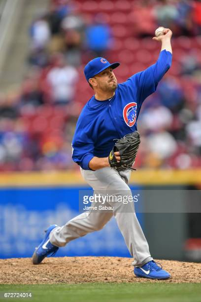 Brian Duensing of the Chicago Cubs pitches against the Cincinnati Reds at Great American Ball Park on April 22 2017 in Cincinnati Ohio