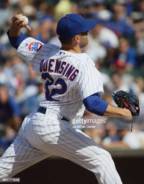 Brian Duensing of the Chicago Cubs pitches in the 9th inning against the Cincinnati Reds at Wrigley Field on May 18 2017 in Chicago Illinois The Cubs...