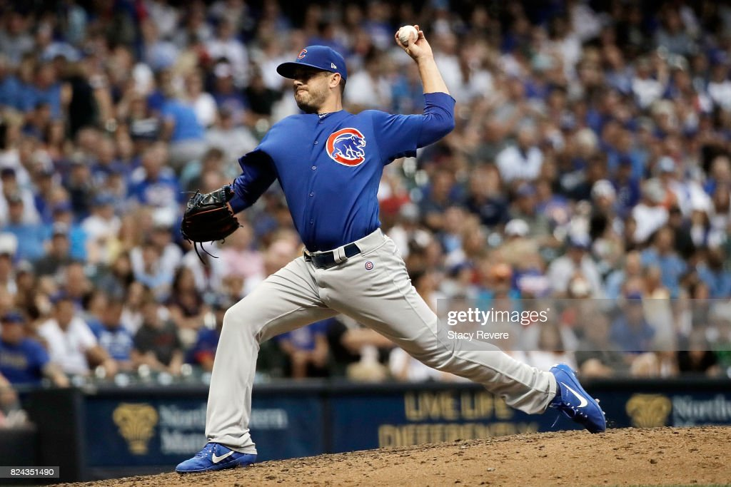 Brian Duensing #32 of the Chicago Cubs throws a pitch during the sixth inning of a game against the Milwaukee Brewers at Miller Park on July 29, 2017 in Milwaukee, Wisconsin.