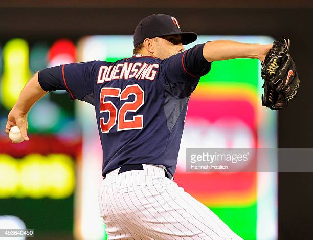 Brian Duensing of the Minnesota Twins delivers a pitch against the Cleveland Indians during the sixth inning of the game on August 19 2014 at Target...