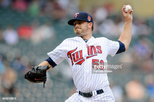 Brian Duensing of the Minnesota Twins delivers a pitch against the Detroit Tigers during the game on August 24 2014 at Target Field in Minneapolis...
