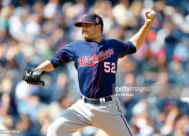 Brian Duensing of the Minnesota Twins in action against the New York Yankees at Yankee Stadium on May 31 2014 in the Bronx borough of New York City...