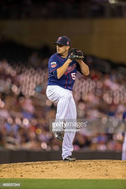 Brian Duensing of the Minnesota Twins pitches against the Cleveland Indians on August 19 2014 at Target Field in Minneapolis Minnesota The Indians...
