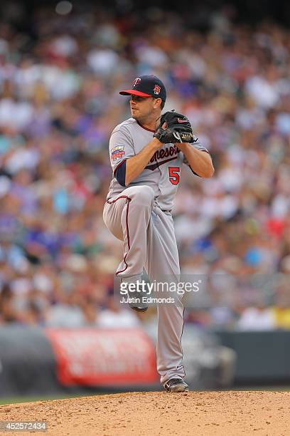Brian Duensing of the Minnesota Twins pitches against the Colorado Rockies at Coors Field on July 12 2014 in Denver Colorado