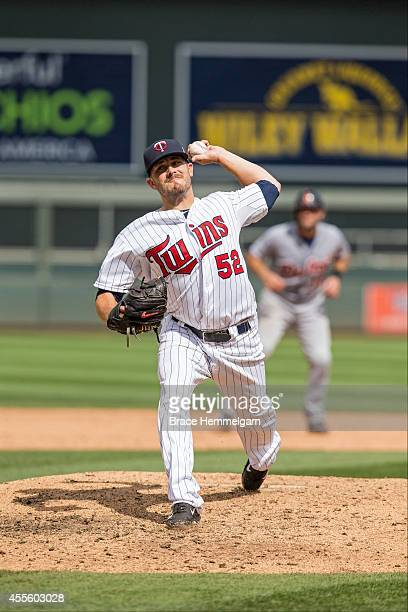 Brian Duensing of the Minnesota Twins pitches against the Detroit Tigers on August 24 2014 at Target Field in Minneapolis Minnesota The Tigers...