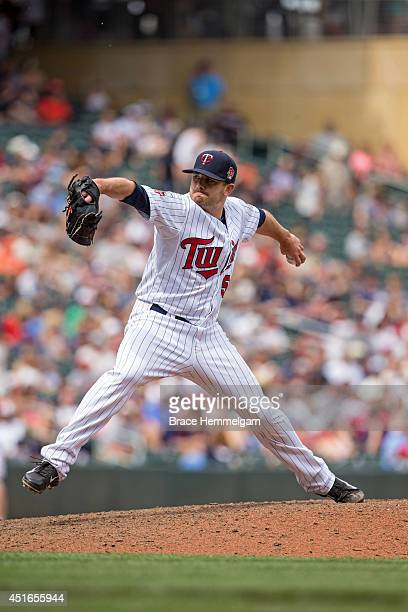 Brian Duensing of the Minnesota Twins pitches against the Houston Astros on June 8 2014 at Target Field in Minneapolis Minnesota The Astros defeated...