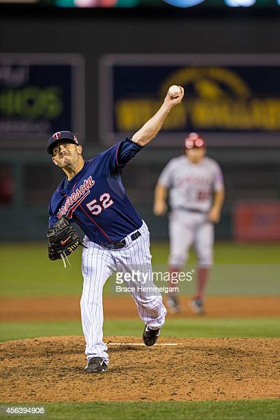 Brian Duensing of the Minnesota Twins pitches against the Los Angeles Angels of Anaheim on September 5 2014 at Target Field in Minneapolis Minnesota...