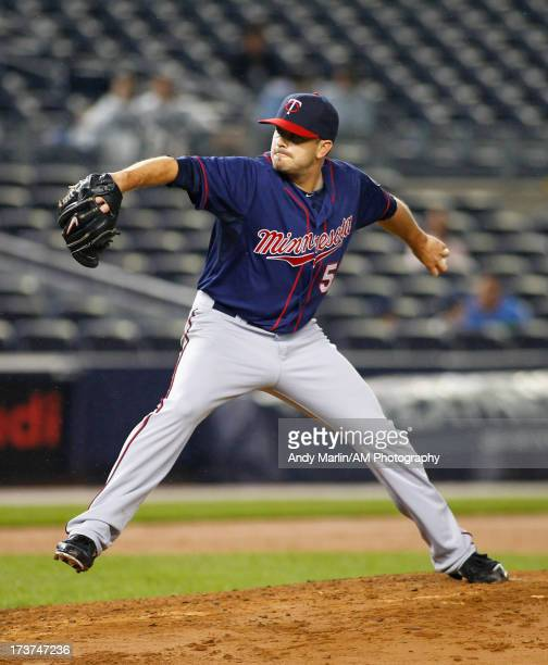 Brian Duensing of the Minnesota Twins pitches against the New York Yankees at Yankee Stadium on July 12 2013 in the Bronx borough of New York City