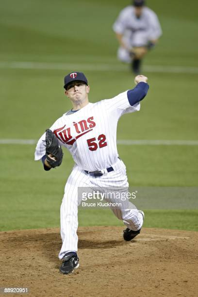 July 7: Brian Duensing of the Minnesota Twins pitches to the New York Yankees on July 7, 2009 at the Metrodome in Minneapolis, Minnesota. The Yankees...