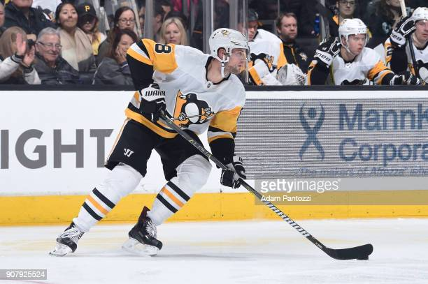 Brian Dumoulin of the Pittsburgh Penguins handles the puck during a game against the Los Angeles Kings at STAPLES Center on January 18 2018 in Los...