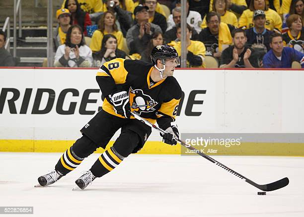 Brian Dumoulin of the Pittsburgh Penguins in action in Game One of the Eastern Conference First Round during the 2016 NHL Stanley Cup Playoffs...