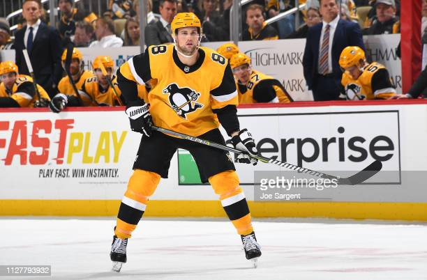 Brian Dumoulin of the Pittsburgh Penguins skates against the Tampa Bay Lightning at PPG Paints Arena on January 30 2019 in Pittsburgh Pennsylvania