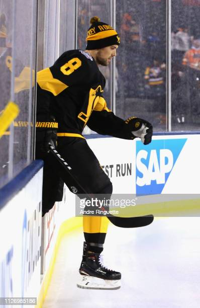 Brian Dumoulin of the Pittsburgh Penguins takes the ice for warmup prior to the 2019 Coors Light NHL Stadium Series game between the Pittsburgh...