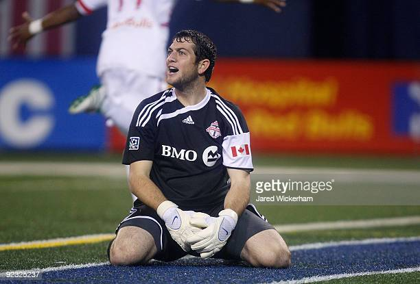 Brian Edwards of the Toronto FC reacts after being scored on by the New York Red Bulls during the game on October 24 2009 at Giants Stadium in East...