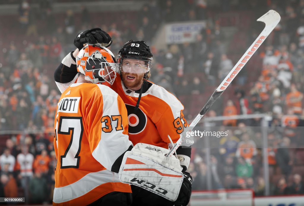 Brian Elliott #37 and Jakub Voracek #93 of the Philadelphia Flyers celebrate the win over the St. Louis Blues on January 6, 2018 at Wells Fargo Center in Philadelphia, Pennsylvania.The Philadelphia Flyers defeated the St. Louis Blues 6-3.
