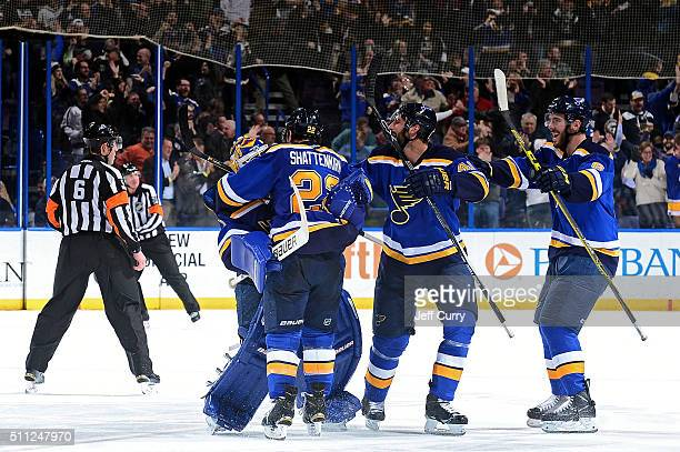 Brian Elliott Kevin Shattenkirk Robert Bortuzzo and Joel Edmundson of the St Louis Blues celebrate after defeating the Los Angeles Kings in overtime...