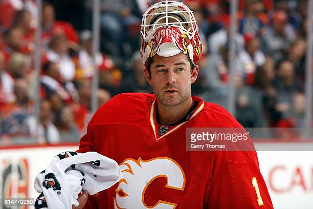 Brian Elliott of the Calgary Flames skates against the Edmonton Oilers during an NHL game on October 14 2016 at the Scotiabank Saddledome in Calgary...
