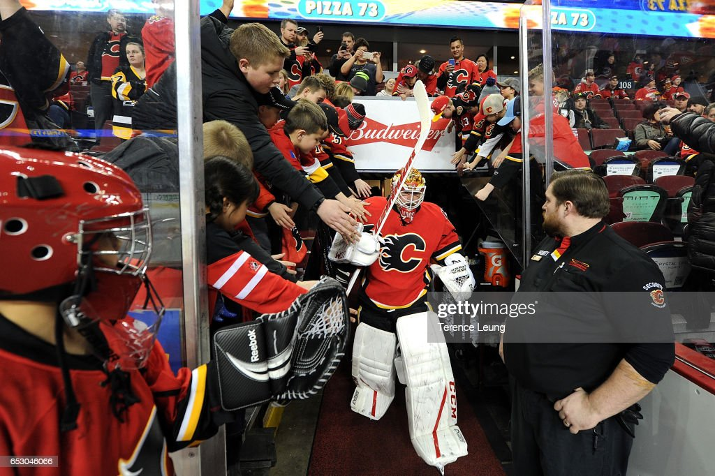 Brian Elliott #1 of the Calgary Flames skates in the warmup before an NHL game against the Calgary Flames on March 13, 2017 at the Scotiabank Saddledome in Calgary, Alberta, Canada.