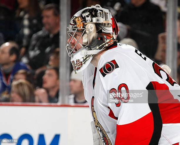 Brian Elliott of the Ottawa Senators looks up ice against the Pittsburgh Penguins on January 28 2010 at Mellon Arena in Pittsburgh Pennsylvania The...