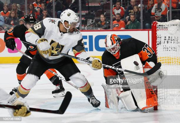 Brian Elliott of the Philadelphia Flyers makes a pad save on a scoring chance by William Carrier of the Vegas Golden Knights on October 13 2018 at...