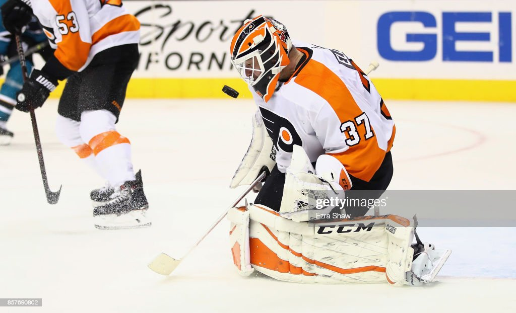 Brian Elliott #37 of the Philadelphia Flyers makes a save against the San Jose Sharks at SAP Center on October 4, 2017 in San Jose, California.