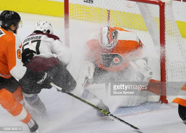 Brian Elliott of the Philadelphia Flyers makes the third period save on Gabriel Bourque of the Colorado Avalanche at the Wells Fargo Center on...