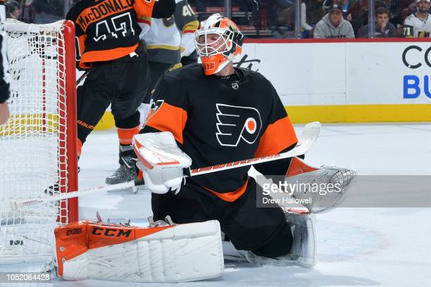 Brian Elliott of the Philadelphia Flyers reacts to a late third period goal by the Vegas Golden Knights at the Wells Fargo Center on October 13 2018...