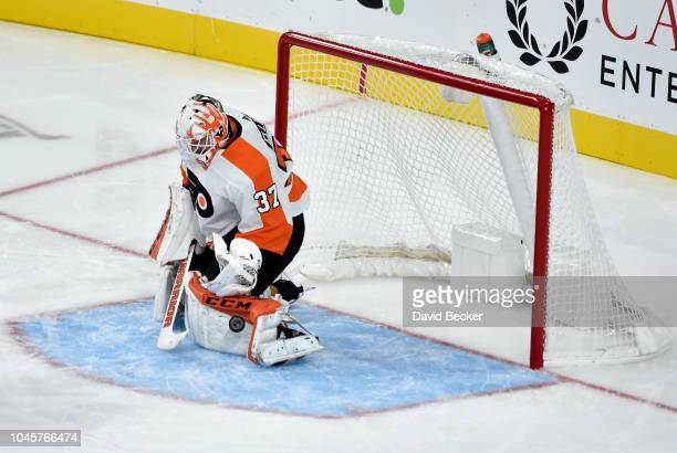 Brian Elliott of the Philadelphia Flyers saves a shot against the Vegas Golden Knights during a game at TMobile Arena on October 4 2018 in Las Vegas...
