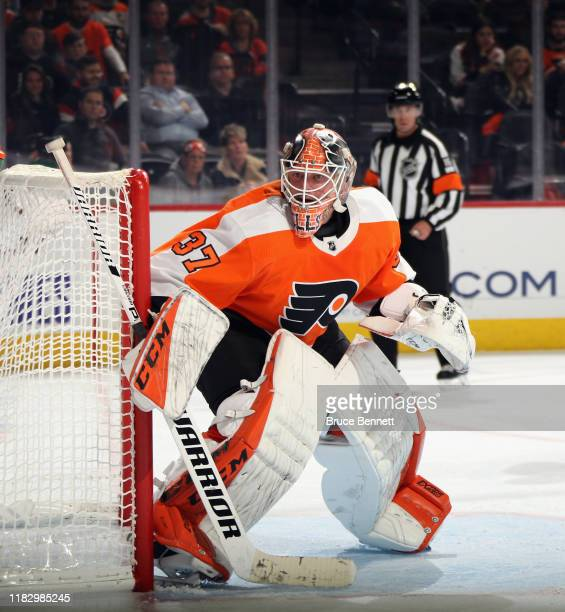 Brian Elliott of the Philadelphia Flyers skates against the Vegas Golden Knights at the Wells Fargo Center on October 21, 2019 in Philadelphia,...