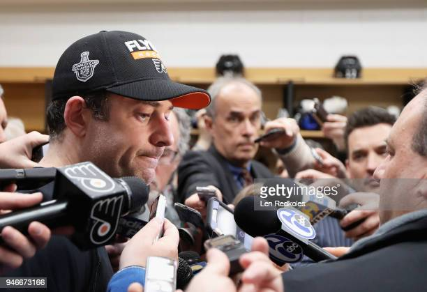Brian Elliott of the Philadelphia Flyers speaks to the media after being defeated 51 by the Pittsburgh Penguins in Game Three of the Eastern...