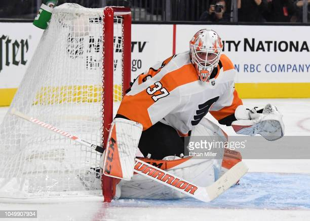 Brian Elliott of the Philadelphia Flyers tends net against the Vegas Golden Knights in the second period of their game at TMobile Arena on October 04...