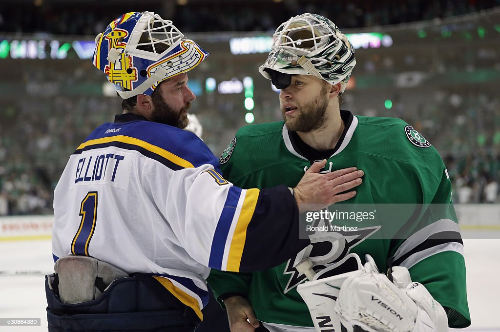 Brian Elliott #1 of the St. Louis Blues and Antti Niemi #31 of the Dallas Stars talk after the Blues won 6-1 in Game Seven of the Western Conference Second Round during the 2016 NHL Stanley Cup Playoffs at American Airlines Center on May 11, 2016 in Dallas, Texas.