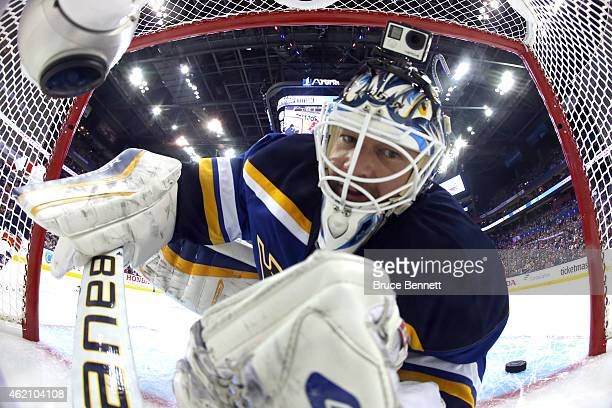 Brian Elliott of the St Louis Blues and Team Foligno looks on after Aaron Ekblad of the Florida Panthers and Team Toews scored a goal during the 2015...