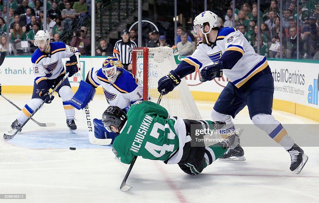 Brian Elliott #1 of the St. Louis Blues blocks a shot on goal by Valeri Nichushkin #43 of the Dallas Stars in the third period in Game Five of the Western Conference Second Round during the 2016 NHL Stanley Cup Playoffs at American Airlines Center on May 7, 2016 in Dallas, Texas.