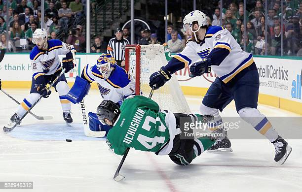 Brian Elliott of the St Louis Blues blocks a shot on goal by Valeri Nichushkin of the Dallas Stars in the third period in Game Five of the Western...