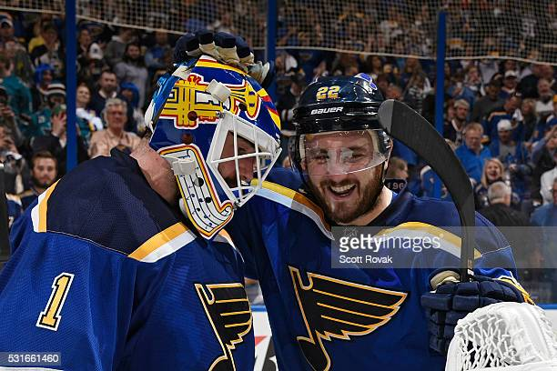 Brian Elliott of the St Louis Blues is congratulated by Kevin Shattenkirk after defeating the San Jose Sharks in Game One of the Western Conference...