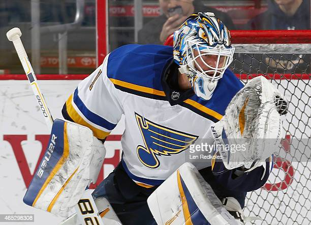 Brian Elliott of the St Louis Blues makes a glove save during warmups prior to his game against the Philadelphia Flyers on March 5 2015 at the Wells...