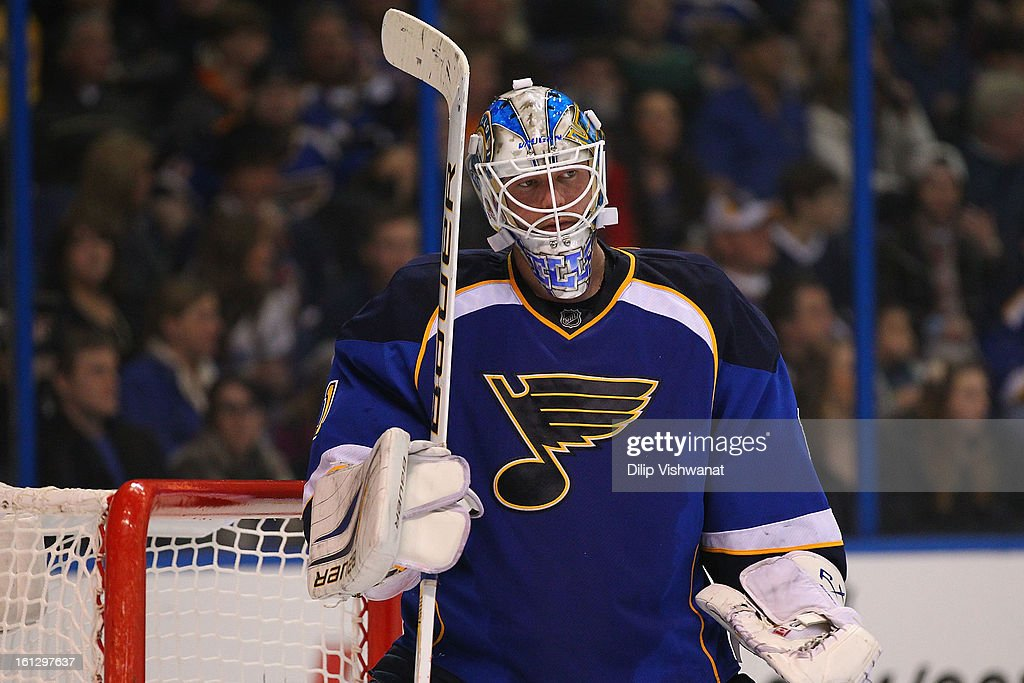 Brian Elliott #1 of the St. Louis Blues reacts to giving up his fifth goal of the game against the Anaheim Ducks at the Scottrade Center on February 9, 2013 in St. Louis, Missouri.