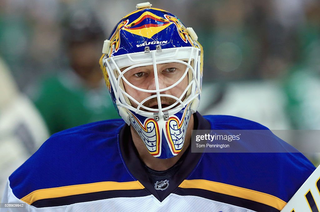 Brian Elliott #1 of the St. Louis Blues skates during pregame the warm up before taking on the Dallas Stars in Game Two of the Western Conference Second Round during the 2016 NHL Stanley Cup Playoffs at American Airlines Center on May 1, 2016 in Dallas, Texas.
